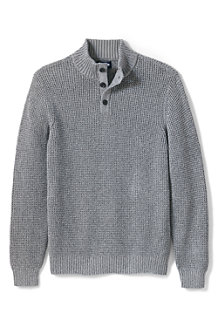 Men's Button Neck Drifter Cotton Jumper, Marl