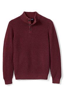 Melierter Baumwoll-Pullover DRIFTER mit Knopfleiste für Herren