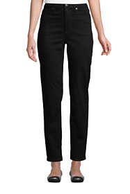 Women's Petite High Rise Straight Leg Ankle Jeans Black