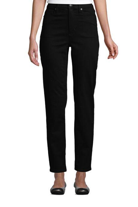 Women's High Rise Straight Leg Ankle Jeans Black