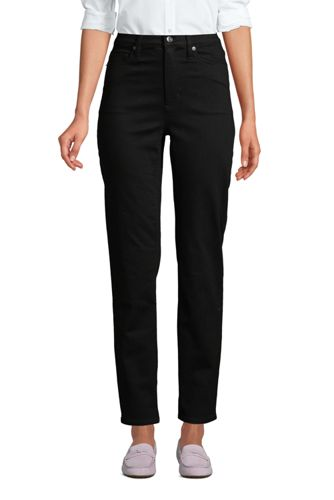 Schwarze Straight Fit Jeans High Waist, knöchellang für Damen