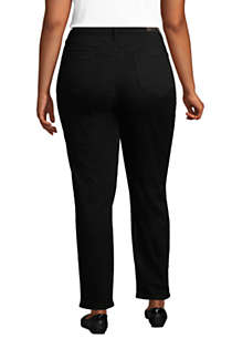 Women's Plus Size High Rise Straight Leg Ankle Jeans Black, Back
