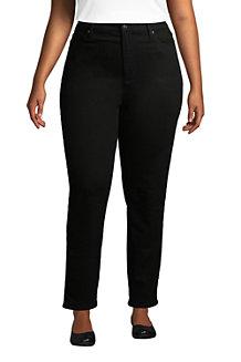 Women's High Waisted Straight Leg Jeans, Black