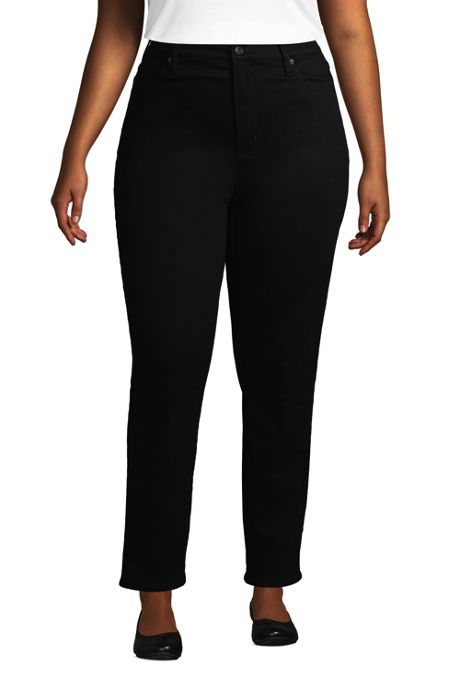 Women's Plus Size High Rise Straight Leg Ankle Jeans Black