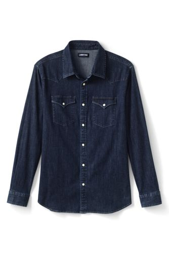 Men's Stretch Denim Western Shirt in Traditional Fit