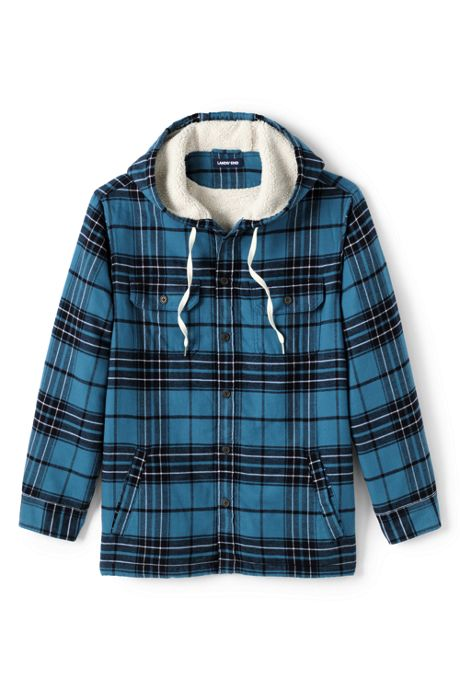 Men's Tall Flannel Sherpa Lined Hooded Shirt Jacket