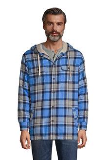 Flanell-Hemdjacke mit Teddyfutter und Kapuze für Herren