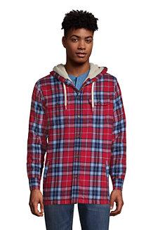 Men's Sherpa-lined Hooded Flannel Shirt Jacket