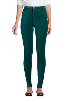 Women's High Waisted Slim Leg Velvet Jeans