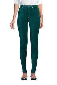 Women's High Waisted Slim Leg Velvet Jeans