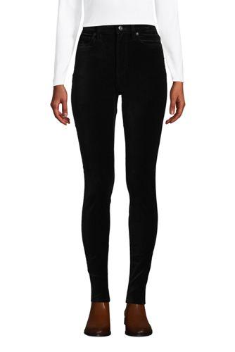 Pantalon Slim Taille Haute en Velours Stretch, Femme Stature Standard