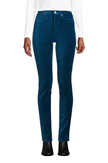 Pantalon Slim Taille Haute en Velours Stretch, Femme