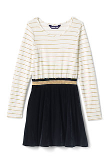 Girls' Long Sleeve Fabric Mix Dress