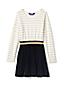 Langärmliges Kleid im Materialmix für große Mädchen
