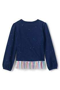 Little Girls Sweatshirt and Ruffle Hem Top, Back