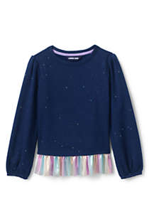Little Girls Sweatshirt and Ruffle Hem Top, Front