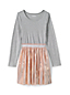 Little Girls Long Sleeve Fabric Mix Dress