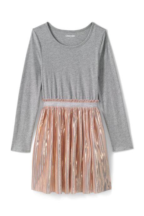 Girls Long Sleeve Fabric Mix Dress