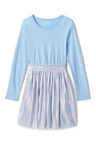 Girls Plus Size Long Sleeve Fabric Mix Dress