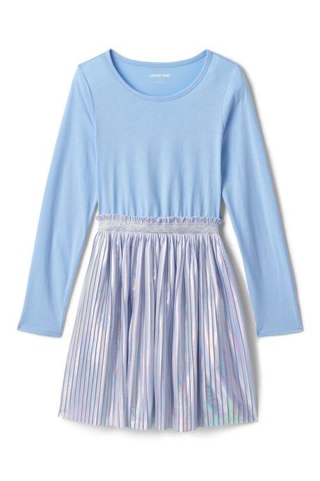 Little Girls Long Sleeve Fabric Mix Dress