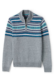 Men's Cotton Blend Fair Isle Half Zip