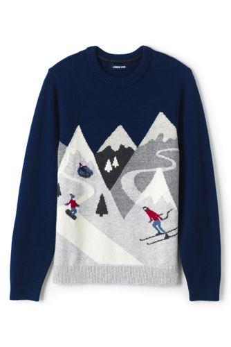 Strick-Pullover mit winterlichen Motiven für Herren