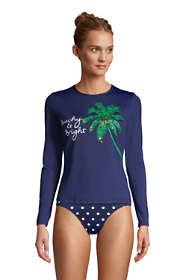Women's Crew Neck Long Sleeve Rash Guard UPF 50 Sun Protection Modest Swim Tee Print