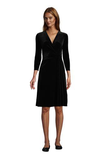 Robe Cache-Coeur en Velours Manches 3/4 Noeud sur Taille, Femme Stature Standard