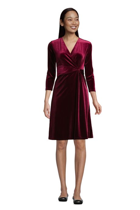 Women's 3/4 Sleeve Knot Front Fit and Flare Dress Velvet