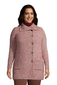 Women's Plus Size Pebble Yarn Button Up Cardigan Sweater