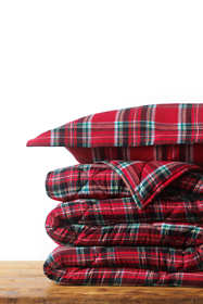 Velvet Flannel Plaid Comforter