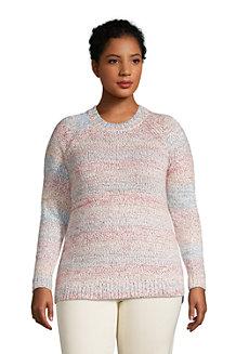 Rundhals-Pullover im Baumwollmix, Regenbogen-meliert für Damen