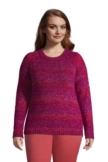 Women's Plus Size Raglan Sleeve Crew Neck Sweater - Rainbow
