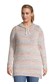 Women's Plus Size Rainbow Tunic Hoodie Sweater