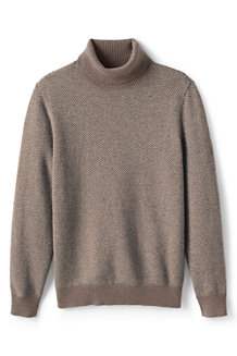 Men's Herringbone Polo Neck Cashmere Jumper
