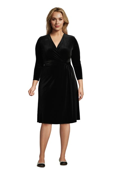 Women's Plus Size 3/4 Sleeve Knot Front Fit and Flare Dress Velvet