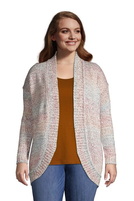 Women's Plus Size Rainbow Long Sleeve Cocoon Cardigan
