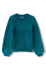 Girls Plus Size Chenille Blouson Sleeve Sweater