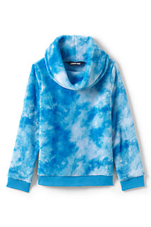 Girls' Fuzzy Cowl Neck Pattern Sweatshirt