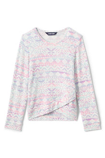 Girls' Long Sleeve Soft Brushed Pattern Top