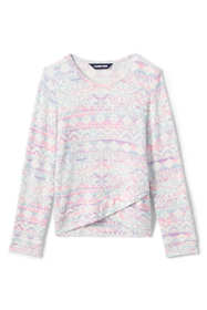 Girls Long Sleeve Soft Brushed Pattern Top
