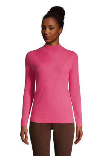 Women's Petite Ribbed Cashmere Polo Neck Jumper