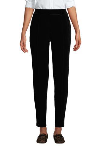 Women's Petite Sport Knit Velvet Pull On Tapered Trousers