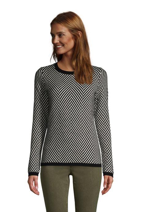 Women's Petite Cashmere Crewneck Sweater - Jacquard