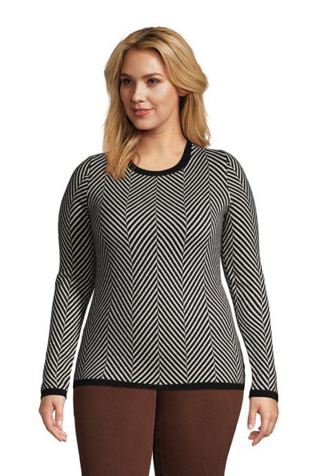 Women's Plus Size Cashmere Crewneck Sweater - Jacquard