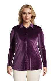 Women's Plus Size Velvet Long Sleeve Button Down Tunic