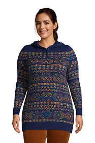Women's Plus Size Rainbow Tunic Hoodie Sweater - Fairisle