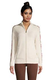 Women's Cotton Drifter Fancy Mock Neck Zip Up Sweater - Jacquard