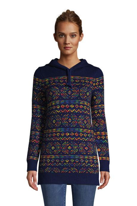 Women's Rainbow Tunic Hoodie Sweater - Fairisle