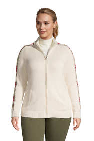 Women's Plus Size Cotton Drifter Fancy Mock Neck Zip Up Sweater - Jacquard